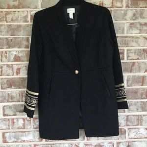Chico Black Long Fitted Gold Trim Sleeves Blazer